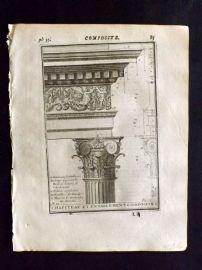 Vignola 1720 Architectural Print. Composite Capital 34